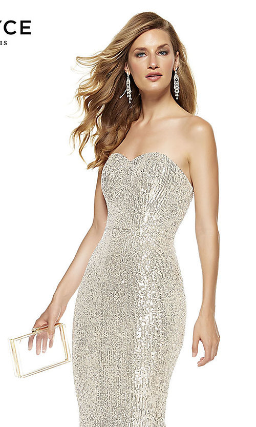 Image of long sequin strapless formal prom dress with train. Style: AL-60809 Detail Image 3