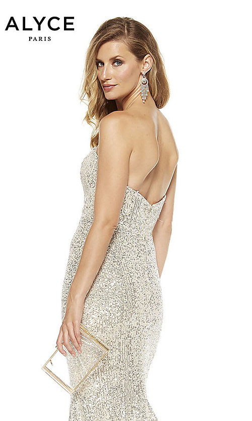 Image of long sequin strapless formal prom dress with train. Style: AL-60809 Detail Image 4