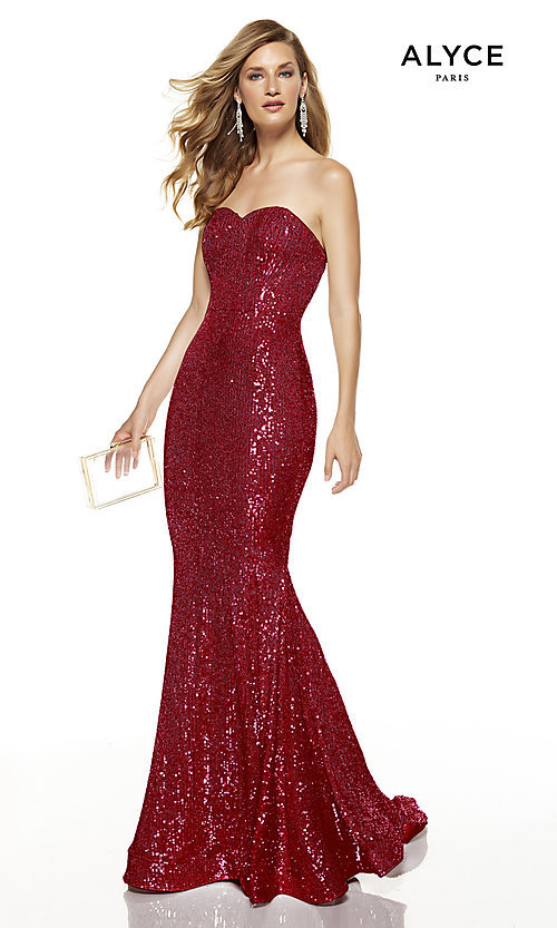 Image of long sequin strapless formal prom dress with train. Style: AL-60809 Front Image