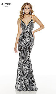 Image of long sequin-print black formal prom dress by Alyce. Style: AL-60815 Front Image