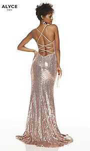 Image of long v-neck sequin Alyce prom dress. Style: AL-60822 Front Image