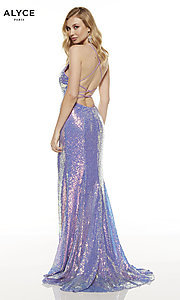 Image of corset-back long sequin Alyce formal prom dress. Style: AL-60823 Front Image