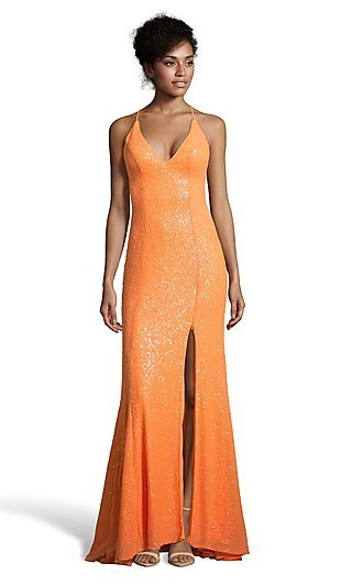 Long Sequin Alyce Prom Dress with a Side Slit