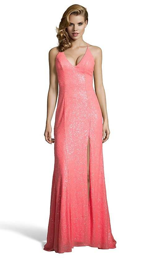 Image of corset-back long sequin Alyce formal prom dress. Style: AL-60823 Detail Image 2