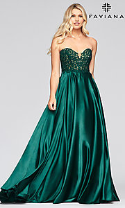 Image of long green Faviana prom dress with pockets. Style: FA-S10430 Front Image
