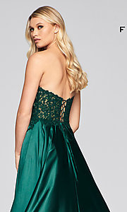 Image of long green Faviana prom dress with pockets. Style: FA-S10430 Detail Image 2