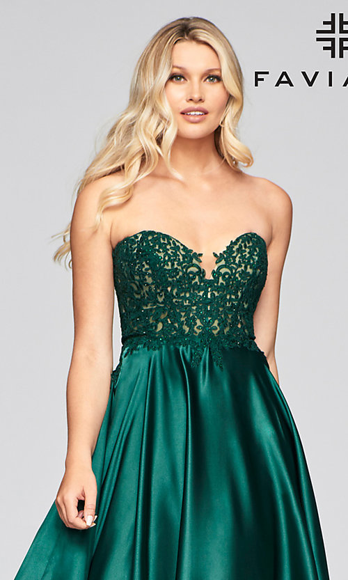 Image of long green Faviana prom dress with pockets. Style: FA-S10430 Detail Image 1