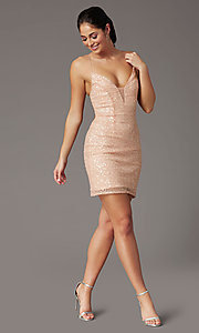 Image of short sequin corset-back prom dress by PromGirl. Style: PV-PL-154 Front Image