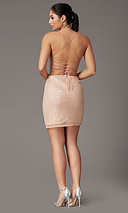 Image of short sequin corset-back prom dress by PromGirl. Style: PV-PL-154 Back Image