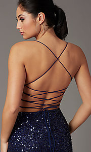 Image of short sequin corset-back prom dress by PromGirl. Style: PV-PL-154 Detail Image 5