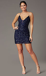 Image of short sequin corset-back prom dress by PromGirl. Style: PV-PL-154 Detail Image 6