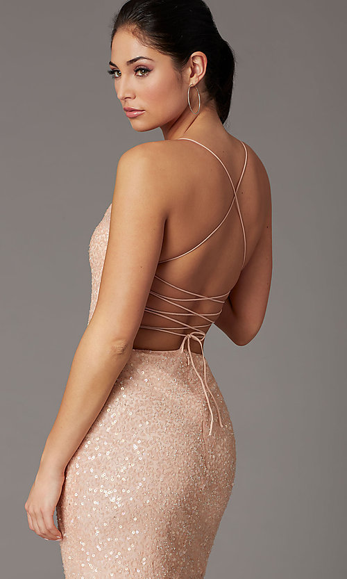 Image of short sequin corset-back prom dress by PromGirl. Style: PV-PL-154 Detail Image 1
