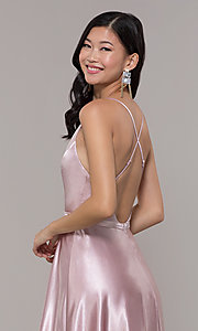 Image of open-back long mauve satin prom dress by Simply. Style: LP-SD-27924-v Detail Image 2
