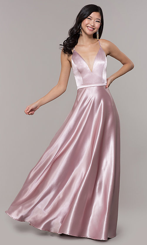 Image of open-back long mauve satin prom dress by Simply. Style: LP-SD-27924-v Detail Image 3