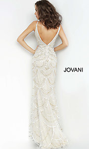 Image of Jovani long silver and gold beaded long prom dress. Style: JO-00861 Back Image
