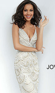 Image of Jovani long silver and gold beaded long prom dress. Style: JO-00861 Detail Image 1