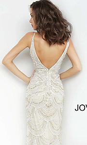 Image of Jovani long silver and gold beaded long prom dress. Style: JO-00861 Detail Image 2