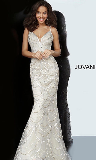 Long Silver and Gold Beaded Prom Dress by Jovani
