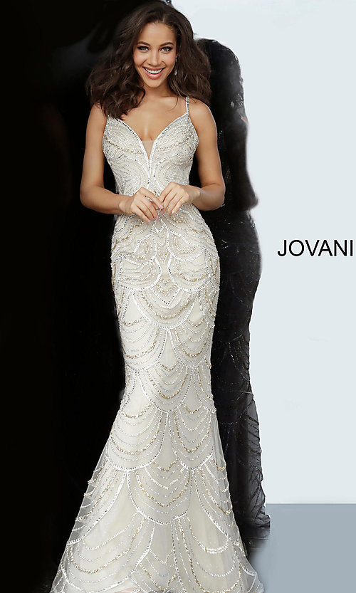 Image of Jovani long silver and gold beaded long prom dress. Style: JO-00861 Front Image