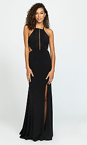 Image of beaded long formal prom dress with cut outs. Style: NM-19-110 Front Image