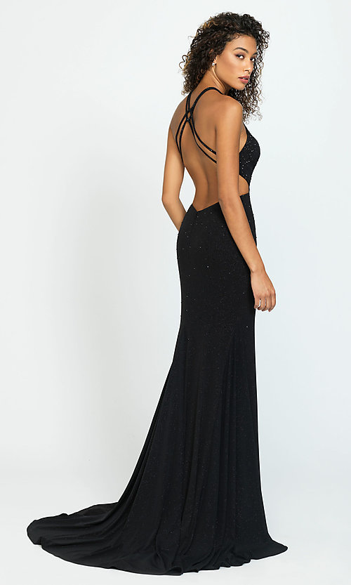 Image of beaded long formal prom dress with cut outs. Style: NM-19-110 Back Image