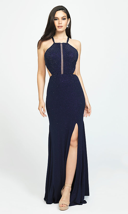 Image of beaded long formal prom dress with cut outs. Style: NM-19-110 Detail Image 2