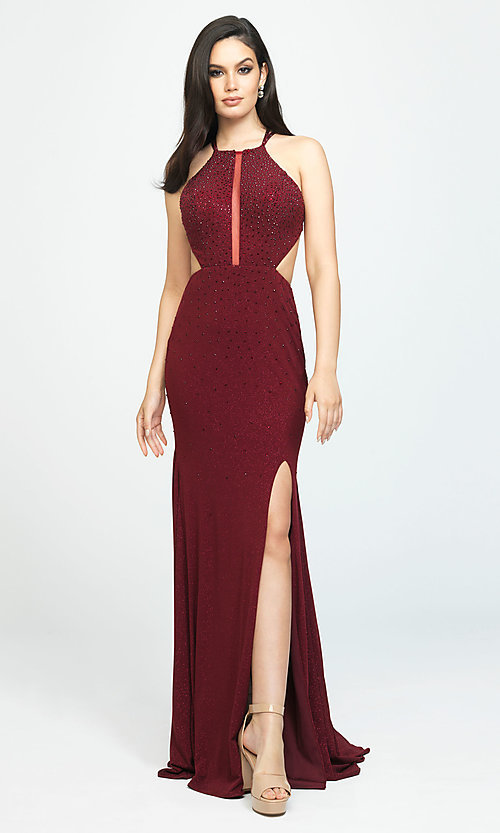 Image of beaded long formal prom dress with cut outs. Style: NM-19-110 Detail Image 3