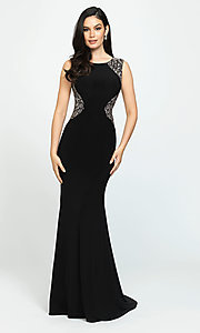 Image of long open-back prom dress by Madison James. Style: NM-19-116 Detail Image 1