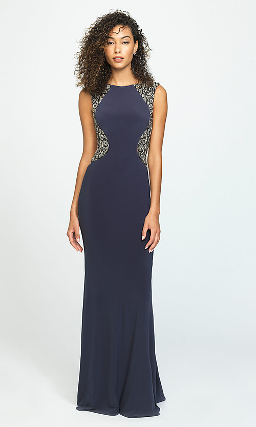 Image of long open-back prom dress by Madison James. Style: NM-19-116 Front Image