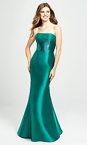 Image of strapless Madison James prom dress with beading. Style: NM-19-130 Front Image