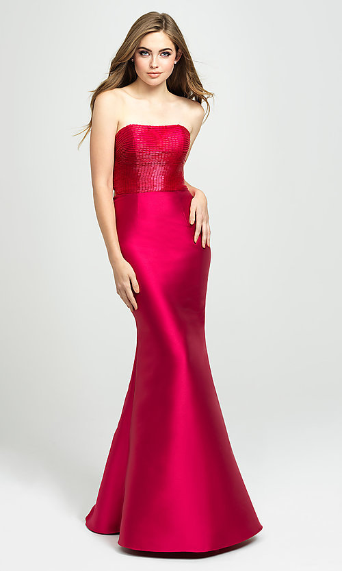 Image of strapless Madison James prom dress with beading. Style: NM-19-130 Detail Image 3