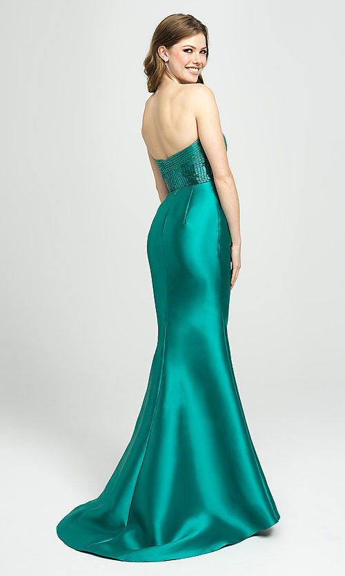 Image of strapless Madison James prom dress with beading. Style: NM-19-130 Back Image