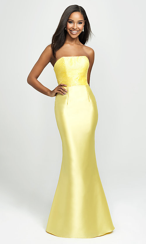Image of strapless Madison James prom dress with beading. Style: NM-19-130 Detail Image 1