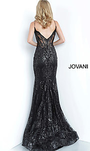 Image of Jovani sparkly long prom dress with sheer bodice. Style: JO-3675 Detail Image 7