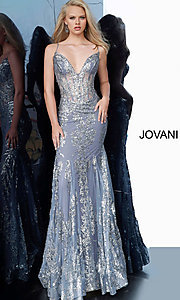 Image of Jovani sparkly long prom dress with sheer bodice. Style: JO-3675 Detail Image 8
