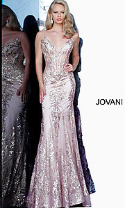 Image of Jovani sparkly long prom dress with sheer bodice. Style: JO-3675 Detail Image 4
