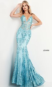 Image of Jovani sparkly long prom dress with sheer bodice. Style: JO-3675 Detail Image 2