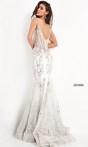 Image of Jovani sparkly long prom dress with sheer bodice. Style: JO-3675 Back Image