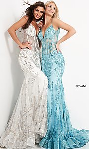 Image of Jovani sparkly long prom dress with sheer bodice. Style: JO-3675 Front Image