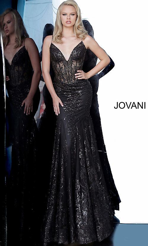 Image of Jovani sparkly long prom dress with sheer bodice. Style: JO-3675 Detail Image 6