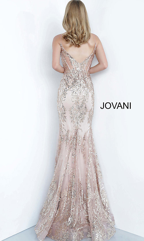 Image of Jovani sparkly long prom dress with sheer bodice. Style: JO-3675 Detail Image 5