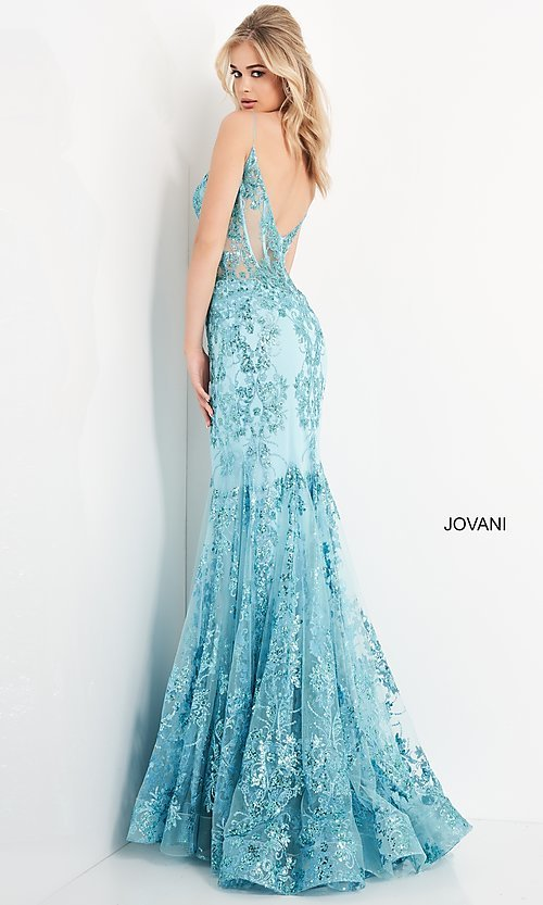 Image of Jovani sparkly long prom dress with sheer bodice. Style: JO-3675 Detail Image 3