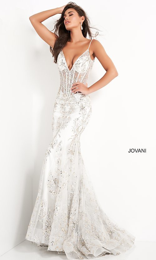 Image of Jovani sparkly long prom dress with sheer bodice. Style: JO-3675 Detail Image 1