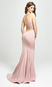 Image of long v-neck Madison James prom dress with beading. Style: NM-19-135 Back Image