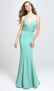 Image of long v-neck Madison James prom dress with beading. Style: NM-19-135 Front Image