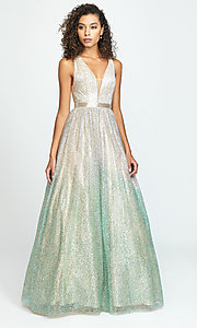 Image of long a-line glitter v-neck prom dress. Style: NM-19-136 Front Image