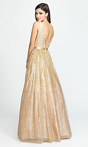 Image of long a-line glitter v-neck prom dress. Style: NM-19-136 Back Image