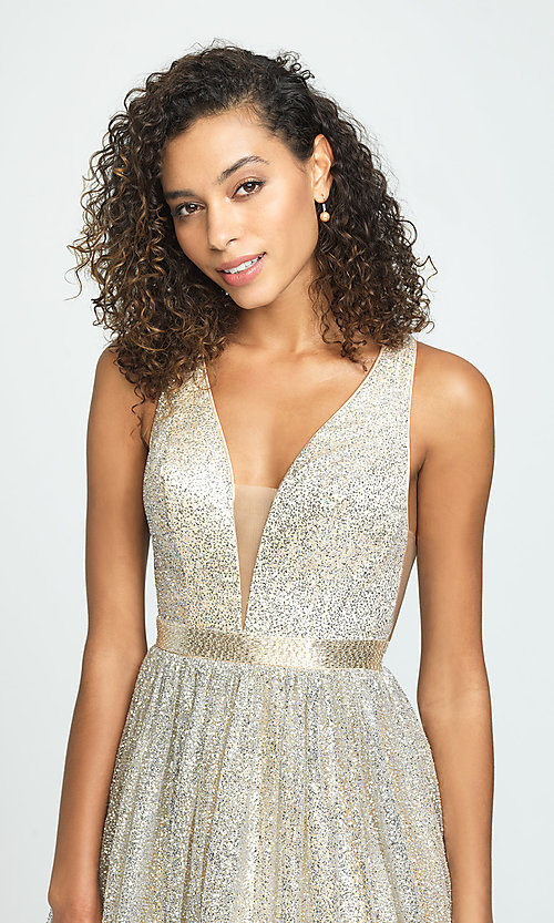 Image of long a-line glitter v-neck prom dress. Style: NM-19-136 Detail Image 1