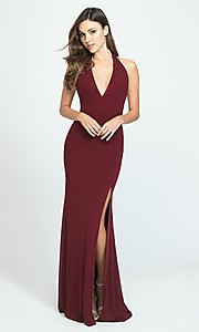 Image of open-back halter prom dress by Madison James. Style: NM-19-140 Detail Image 2