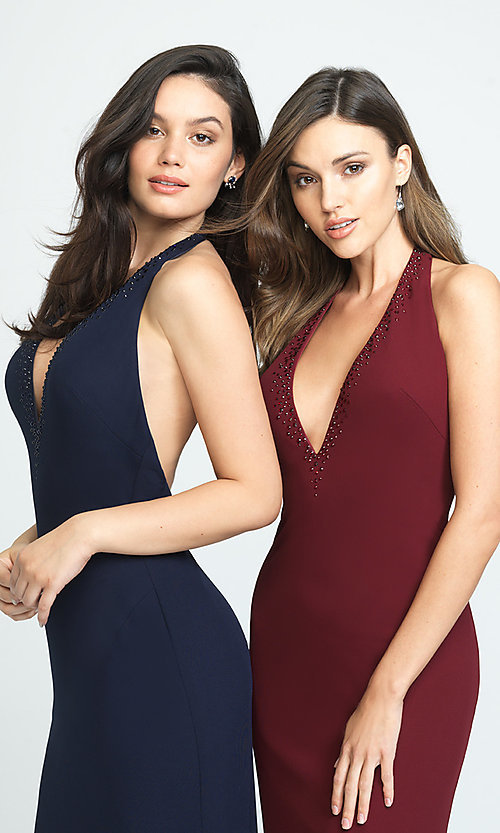 Image of open-back halter prom dress by Madison James. Style: NM-19-140 Detail Image 3